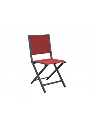 LEA CHAISE PLIANTE GRAPHITE/ROUGE