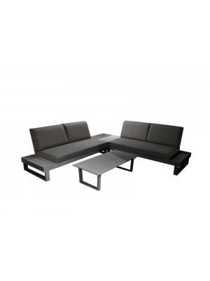 MIAMI SET AVEC COUSSINS (2MER+1TAB ANGL+TABLE BASSE) - GREY