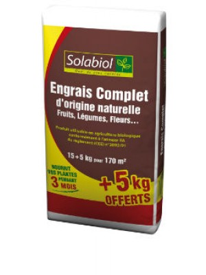 ENGRAIS COMPLET 15KG +5KG OFFERTS SOLABIOL