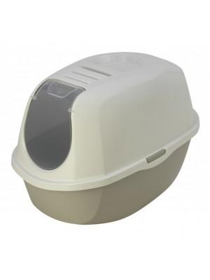 maison toilette smart cat blanc/gris
